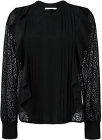 See by Chloe embroidered panel ruffled blouse - women - Silk/Polyester - 40