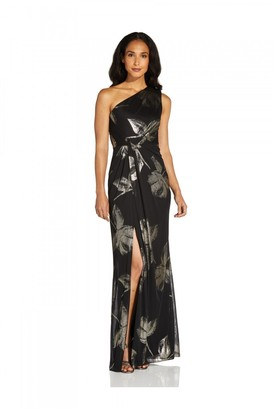 Adrianna Papell One Shoulder Draped Gown