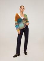 MANGO Multi-color knit cardigan blue - S - Women