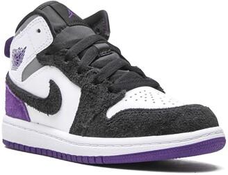 """Jordan Kids Air Jordan 1 Mid SE Purple Suede"""" sneakers"""