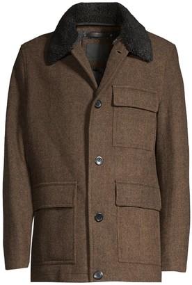 Andrew Marc Faux Fur Trim Wool Button-Front Coat