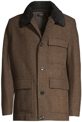Andrew Marc Faux Fur Trim Wool Button-Front Coat
