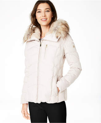 Calvin Klein Faux-Fur-Trim Hooded Down Puffer Coat
