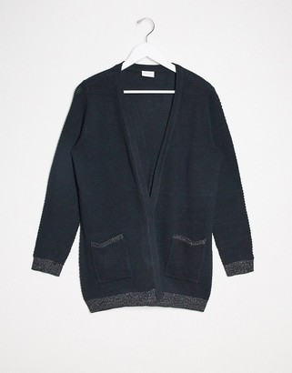 Vila chunky cardigan with metallic thread in navy