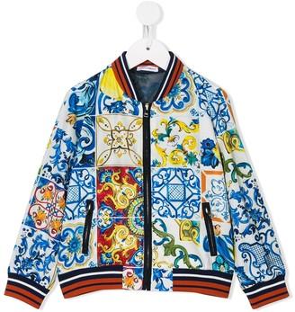 Dolce & Gabbana Kids Majolica print bomber jacket
