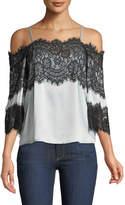 Alice + Olivia Oralia Cold-Shoulder Silk Blouse with Lace
