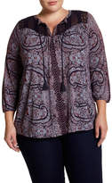 Lucky Brand Lace Yoke Pattern Top (Plus Size)