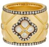 Freida Rothman 14K Gold Plated Sterling Silver CZ Wide Clover Mother of Pearl Ring - Size 8