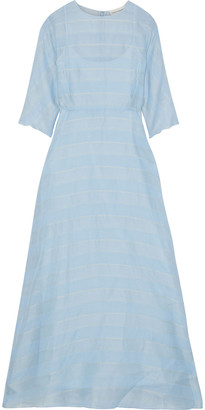 Mansur Gavriel Striped Silk-voile Maxi Dress