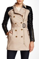 Walter Baker Quilted Faux Leather Accent Trench