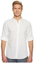 Perry Ellis Rolled-Sleeve Solid Linen Cotton Shirt (Natural Linen) Men's Long Sleeve Button Up