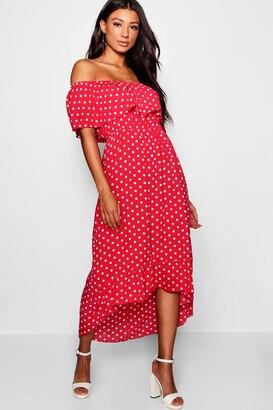 boohoo Woven Polka Dot Print Off The Shoulder Maxi Dress