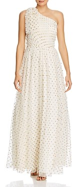 Eliza J Dot Print One-Shoulder Gown