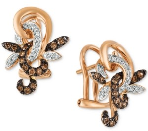 LeVian Le Vian Chocolatier Diamond Flower Drop Earrings (1/3 ct. t.w.) in 14k Rose Gold