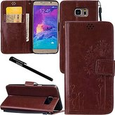 Urvoix Galaxy Note 5 Case, Credit Card Holder Leather Cover Embossed Romantic Dandelion Folio Case for Samsung Galaxy Note5 N920, Brown