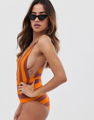 Ichi stripe scoop back swimsuit-Multi