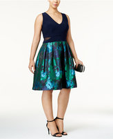 Xscape Evenings Plus Size Floral-Brocade Fit and Flare Dress