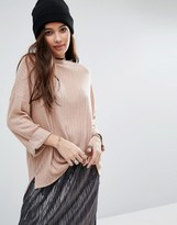 Pull&Bear Ribbed High Neck Top