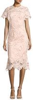 Lela Rose Leaf Guipure Lace Ruffle Dress, Blush
