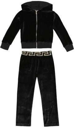 Versace Kids Embellished velour tracksuit