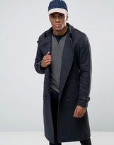 Asos Wool Mix Double Breasted Overcoat in Gray Marl