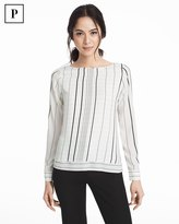 White House Black Market Petite Window Pane Stripe Double-Layer Blouse