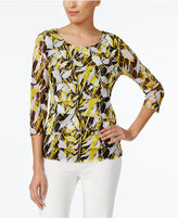 Alfani Petite Tiered Leaf-Print Top, Only at Macy's