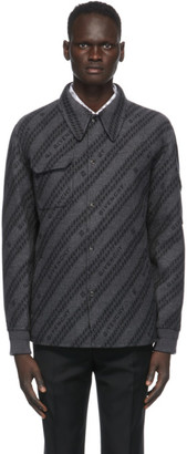 Givenchy Grey and Black Wool Jacquard Chain Coach Jacket