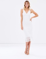 Jeanne Ruffle Hem Lace Midi Dress