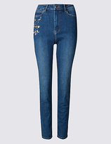 Per Una Embroidered Roma Rise Straight Leg Jeans