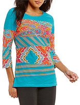 Multiples Patch Print 3/4 Sleeve Tunic