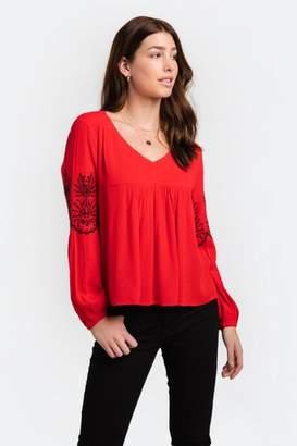 francesca's Anna Embroidered V-Neck Blouse - Red