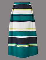 Autograph Wide Stripe A-Line Midi Skirt