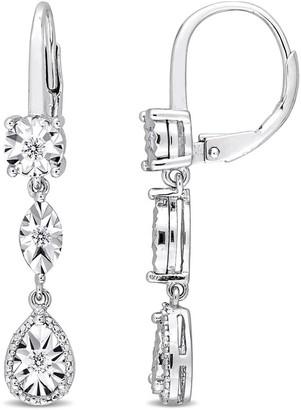 Miadora Sterling Silver 1/4ct TDW Diamond Geometric Dangle Leverback Earrings - White