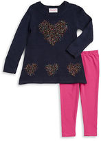 Flapdoodles Girls 2-6x Tinsel Heart Sweater and Leggings Set