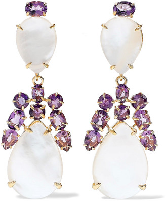 Bounkit 14-karat Gold-plated, Mother-of-pearl And Amethyst Earrings