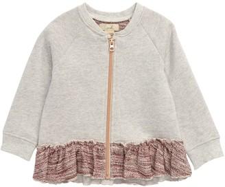 Peek Aren't You Curious Lez Zip Front Ruffled Sweatshirt (Baby Girls)