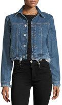 Hudson Garrison Button-Front Cropped Denim Jacket