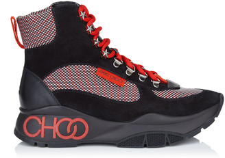 Jimmy Choo INCA/F Black and Red Crosta Suede, Calf and Technical Mesh Trainers