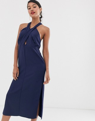 Asos Design DESIGN midi dress in crepe with cross neck and buckle straps-Navy