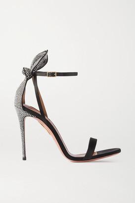 Aquazzura Bow Tie 105 Crystal-embellished Satin Sandals - Black