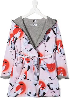 Molo Kids Way bird print bathrobe