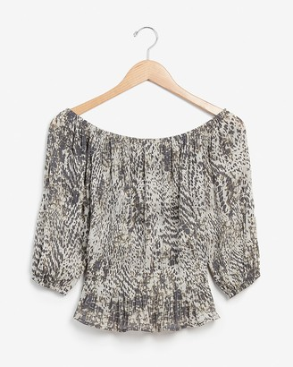 Express Animal Print Pleated Off The Shoulder Top