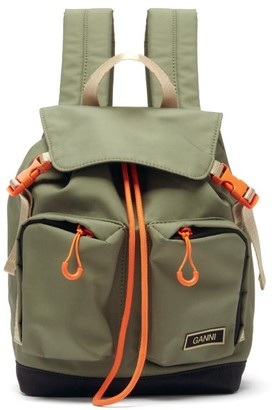 Ganni Recycled-canvas Backpack - Khaki