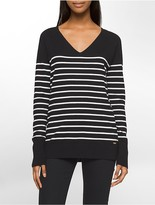 Calvin Klein Striped V-Neck Sweater