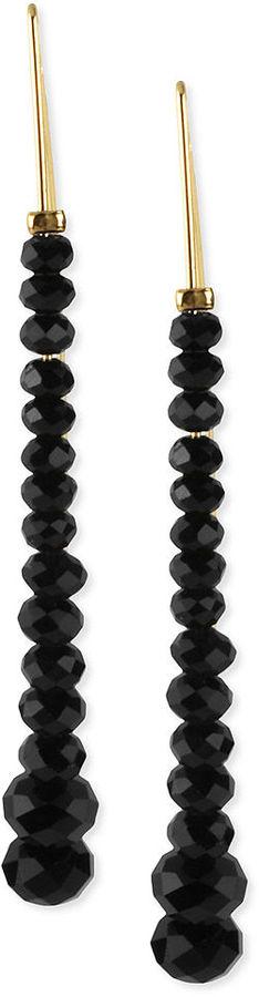Kenneth Cole New York Earrings, Gold-Tone Black Bead Linear Drop Earrings