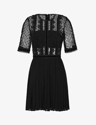 Reiss Athena lace-top dress