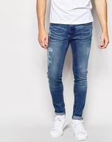 Waven Jeans Erling Spray On Super Skinny Fit Trailer Blue Distressed