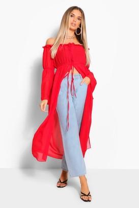 boohoo Off The Shoulder Chiffon Kimono