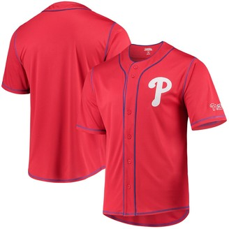 Stitches Philadelphia Phillies Team Color Button-Down Jersey Red/Royal